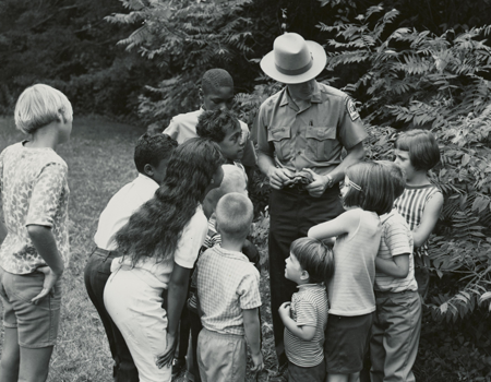 Forest Ranger Boyd Ritchie explains the purpose of a Box Turtle Shell to students at Elizabeth Furnace Recreation Area August 15, 1968