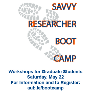 boot print watermark. Savvy Researcher Boot Camp. Workshops for Graduate Students. Saturday, May 22. For Information and to Register: